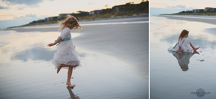 evening beach photography in fairy tale dress, Carey Pace