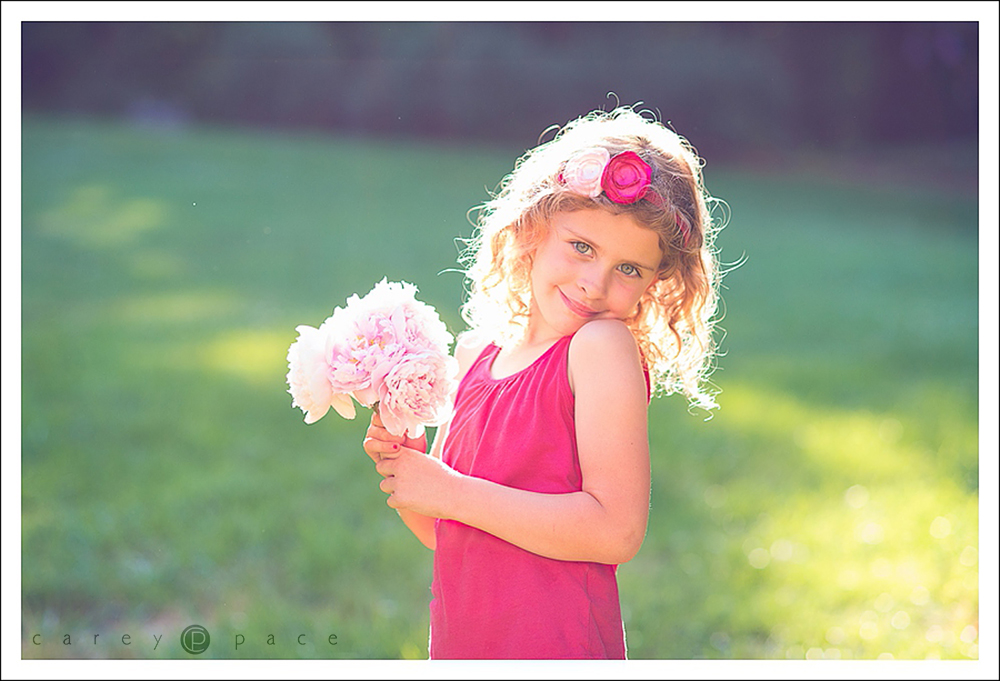 peonies with little girl