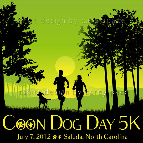 Official 2012 coon Dog Day 5K tshirt front